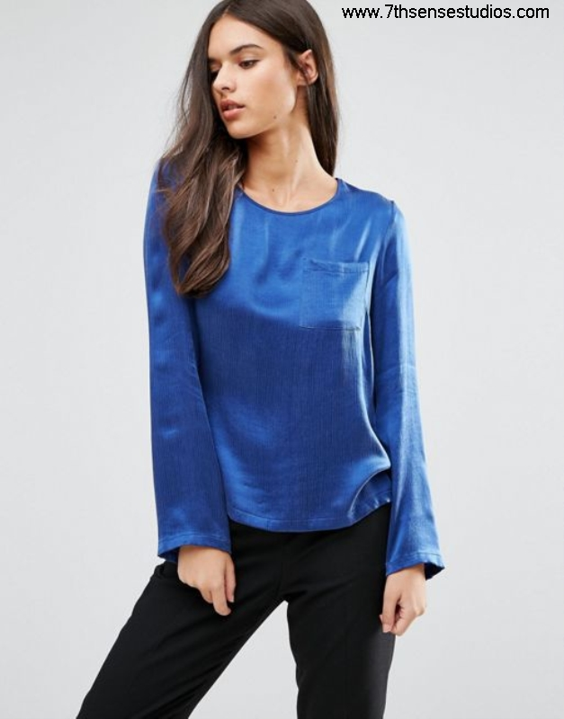 Sisley long sleeve blouse with Developing pocket blue bags womensisley saleCheapest FLNPQSTXZ7