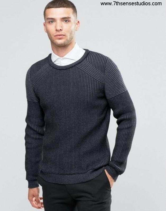 Sisley ribbed jumper with contrast panels grey 901 in Crazy boucle mensisley woolWholesale coat CEKOYZ2358