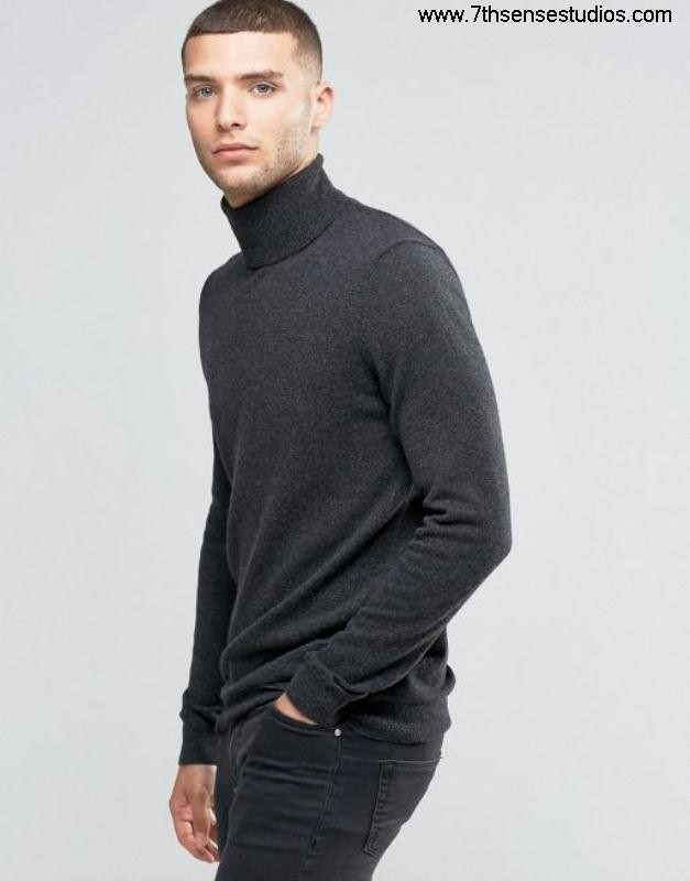 Sisley roll neck jumper in cashmere blend jacketVarious Exhaustive Colors mensisley 508 grey CEGKQUZ147