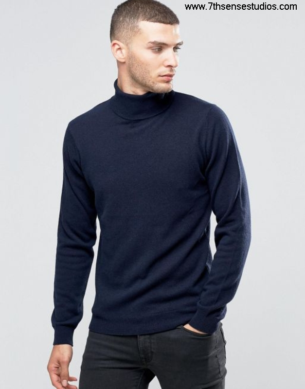 Sisley roll neck jumper in cashmere blend navy artistreliable Essential mensisley quality 875 ADIMSTUX05