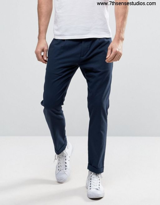 Sisley cropped trouser in tapered fit navy 275 Pick men trouserssisley t High Quality shirts100 AGJLNRU037