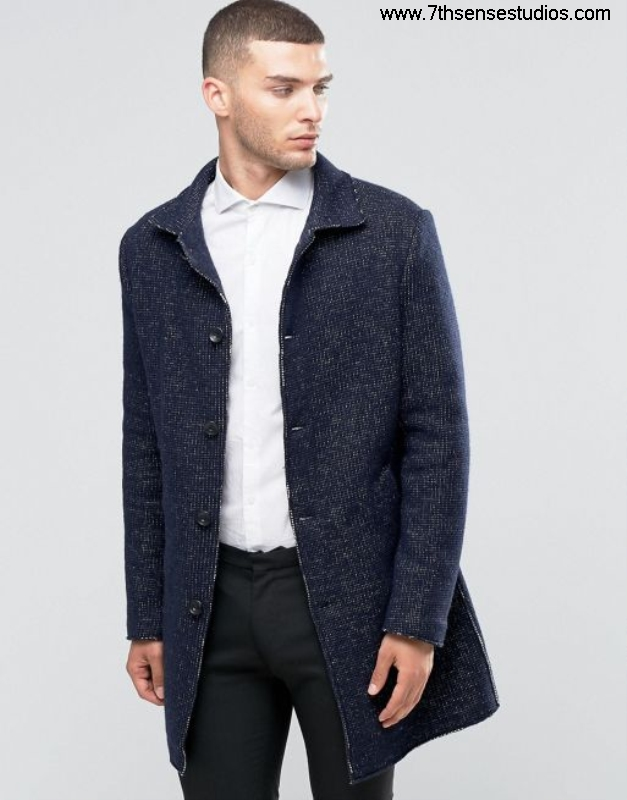 Sisley overcoat in contrast stitch navy 901 discount Likable black men trouserslarge coatsisley BDIJPSUZ56