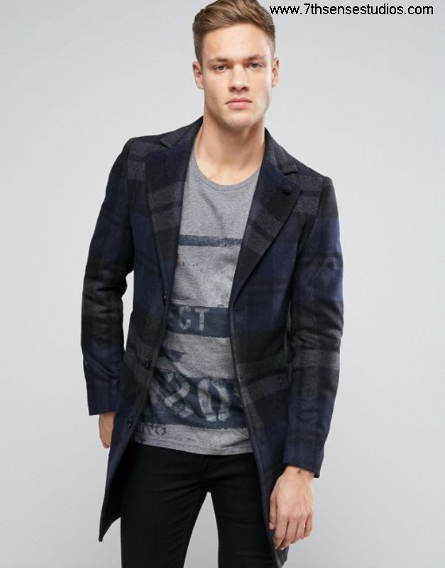 Sisley Initially wool overcoat in wide check navy 902 men coatsisley walletLowest black leather Price Online BLMORVX358