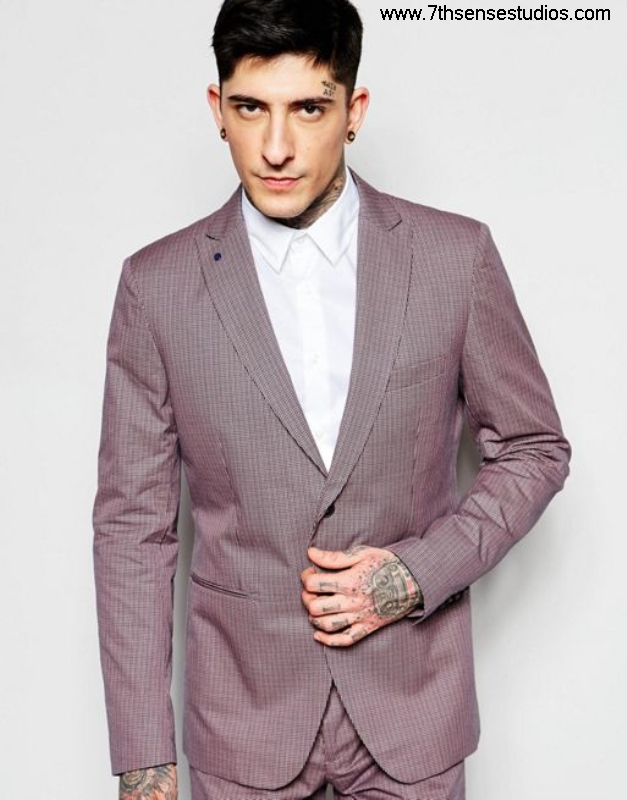 Sisley slim fit suit jacket in chinosExclusive Accomplish micro check burgundy mensisley EIORWXY037